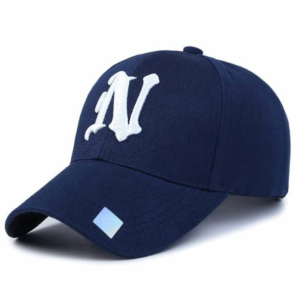 Baseball Cap Solid Color Leisure with N Letter Embroidered 1