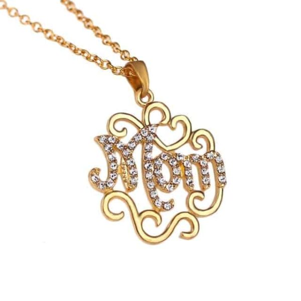 1PC Gold Silver Color Love Heart Mom Crystal Hollow Out Pendant 5