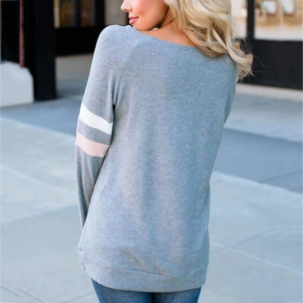 Fashion Women T-Shirt Striped Long Sleeve O-Neck 3