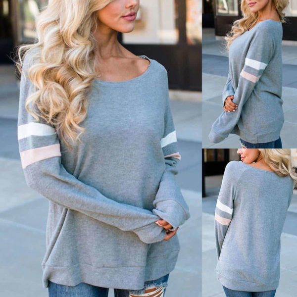 Fashion Women T-Shirt Striped Long Sleeve O-Neck 5