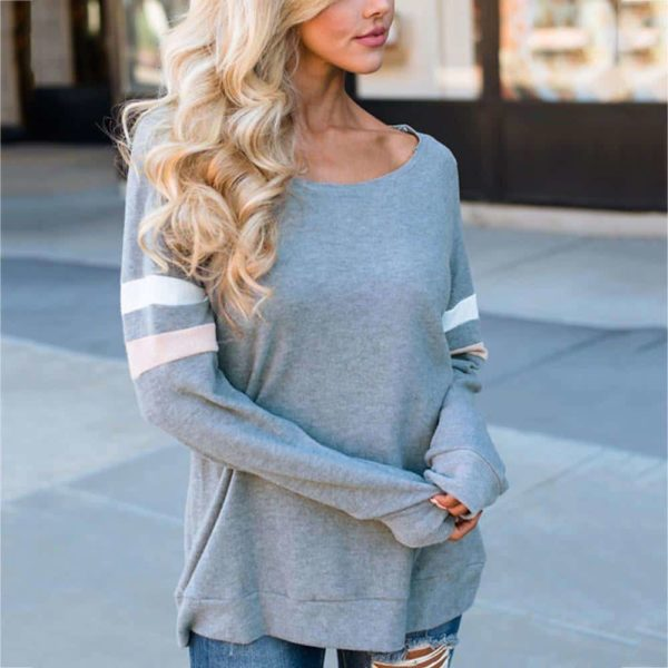 Fashion Women T-Shirt Striped Long Sleeve O-Neck 1