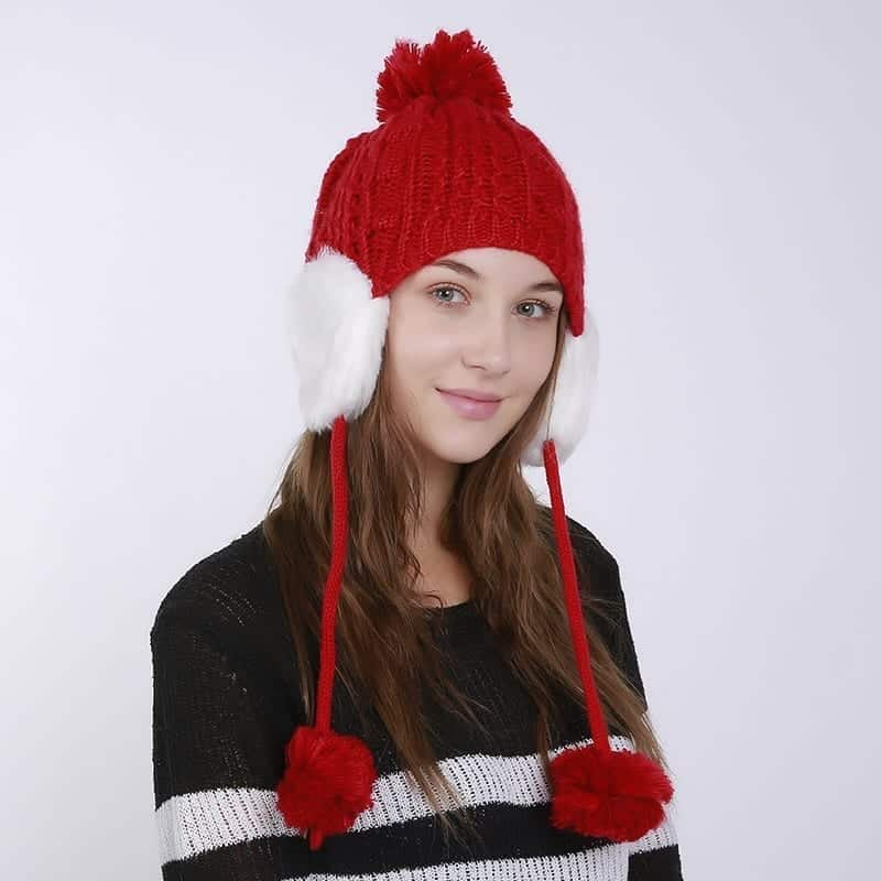 Women s Winter Knitted Hat Beanie for Girl Top Ball Hanging Ball ... 2bc26ce746f