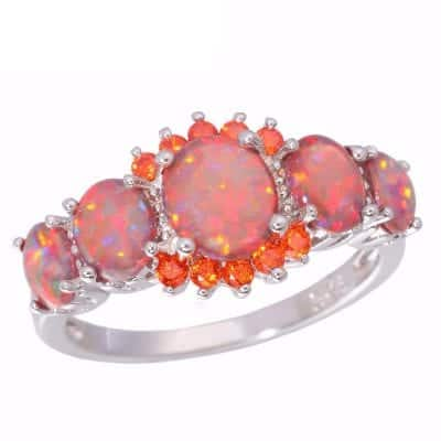Orange Garnet Silver Plated Ring Jewelry 1
