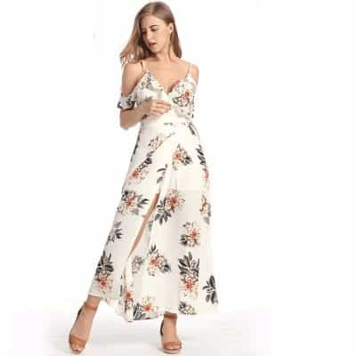 Floral Ruffles Chiffon Long Dress Strap V-Neck 1