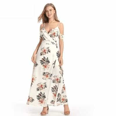 Floral Ruffles Chiffon Long Dress Strap V-Neck 2