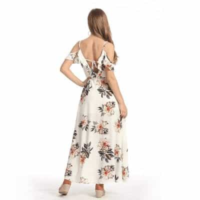 Floral Ruffles Chiffon Long Dress Strap V-Neck 3