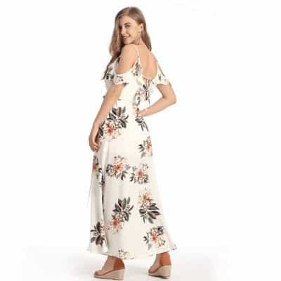 Floral Ruffles Chiffon Long Dress Strap V-Neck 4