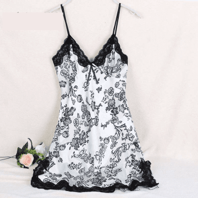 Sexy Silk Satin V-Neck Nightgown Lace Sleepwear