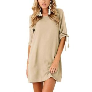 Half Sleeve Mini Dress Casual Style