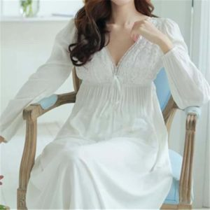 Vintage Nightgowns V-Neck Ladies White Sexy Sleepwear