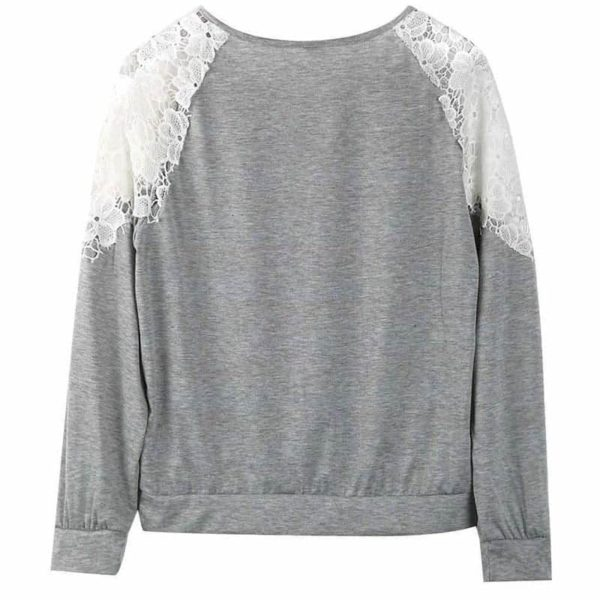 New Solid Splicing Lace O-Neck Fashion Long Sleeve Blouse 2