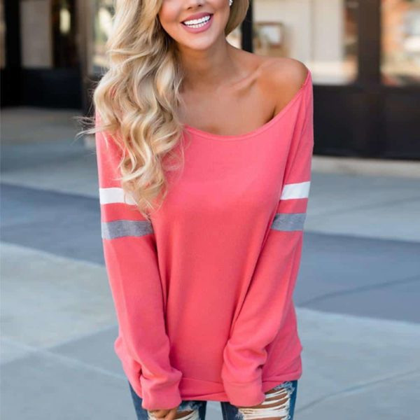 Sexy Women's Long Sleeve Splice Blouse 2
