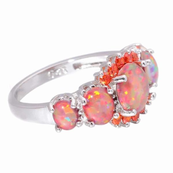 Orange Garnet Silver Plated Ring Jewelry 3