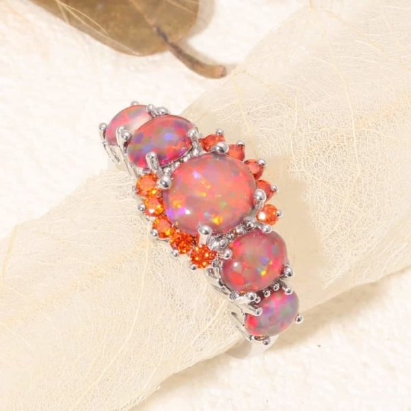 Orange Garnet Silver Plated Ring Jewelry 4