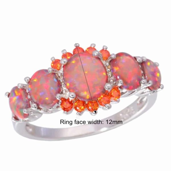 Orange Garnet Silver Plated Ring Jewelry 5