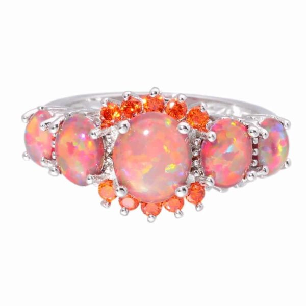 Orange Garnet Silver Plated Ring Jewelry 2