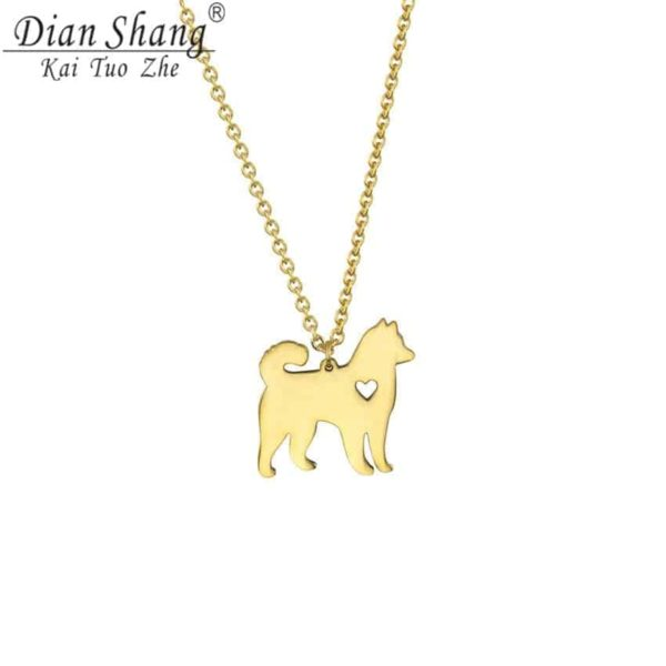 Lovely Pet Dog Necklace Animal Style Hollow Out Heart Jewelry 1
