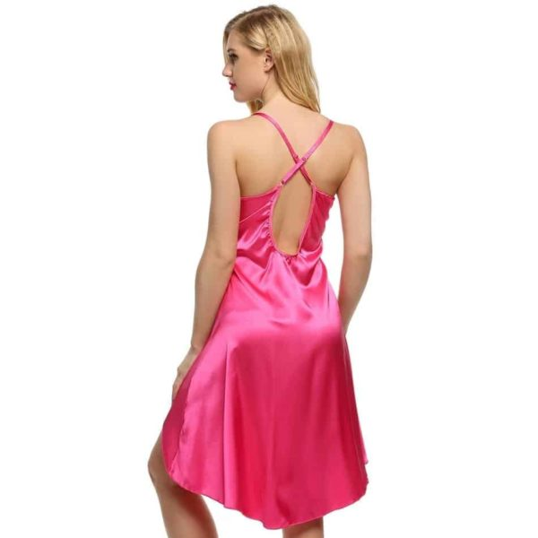 New Fashion Ladies Sexy Satin Night Dress Lace Sleepwear Sleeveless V-Neck 5