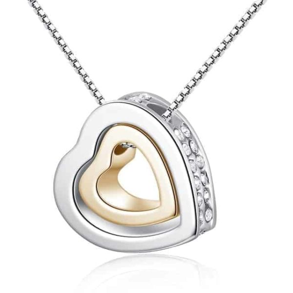 Fine Jewelry Crystals Hollow Out Double Loving Heart Necklace 9