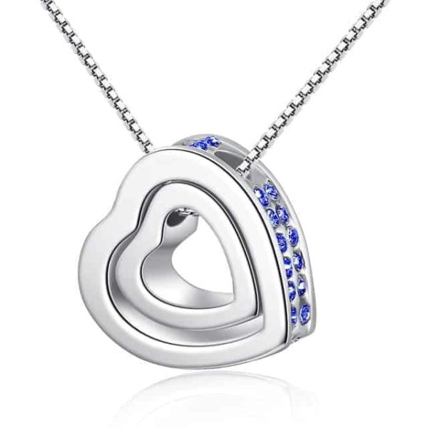 Fine Jewelry Crystals Hollow Out Double Loving Heart Necklace 10