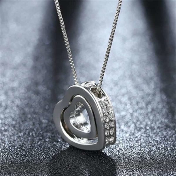 Fine Jewelry Crystals Hollow Out Double Loving Heart Necklace 5