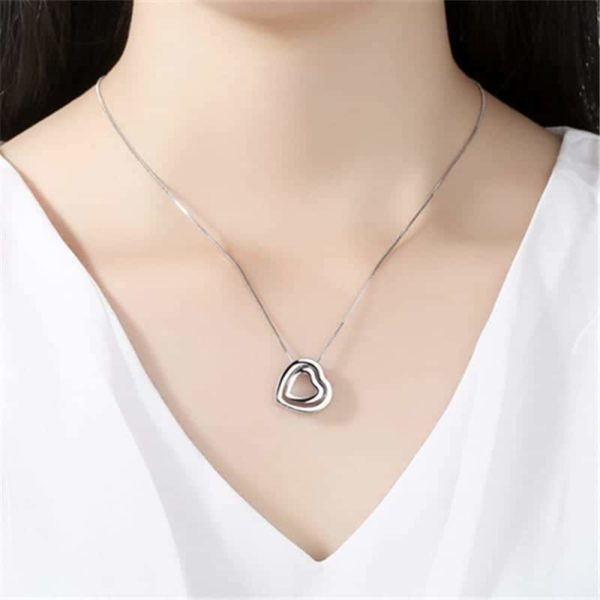 Fine Jewelry Crystals Hollow Out Double Loving Heart Necklace 6