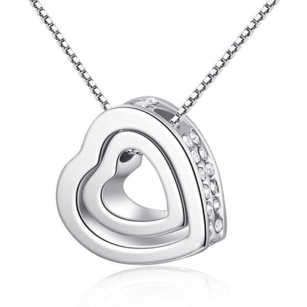 Fine Jewelry Crystals Hollow Out Double Loving Heart Necklace 1