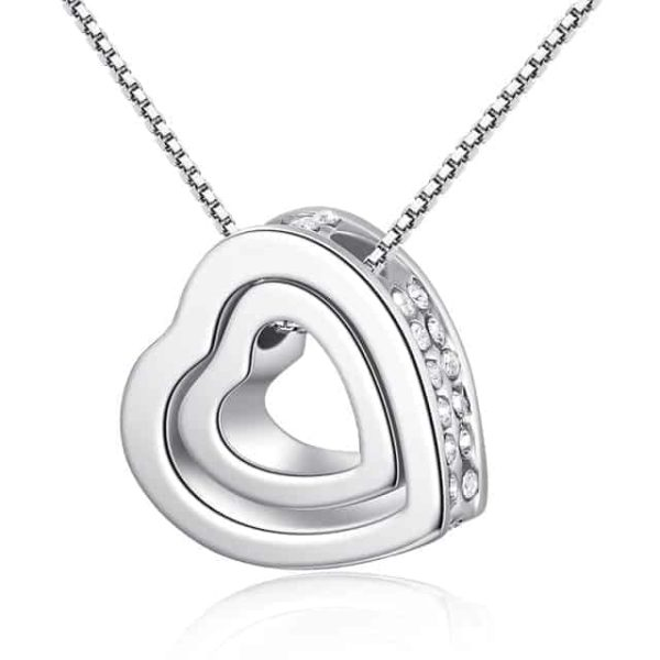 Fine Jewelry Crystals Hollow Out Double Loving Heart Necklace 7
