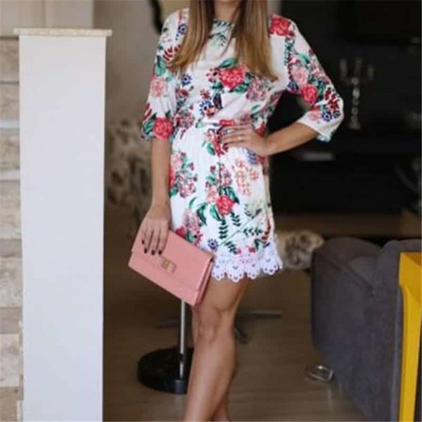 New Floral Printed Women Dress Mini Party Lace 1