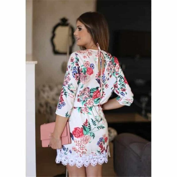 New Floral Printed Women Dress Mini Party Lace 2