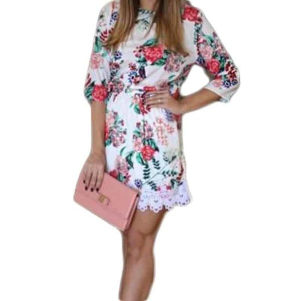 New Floral Printed Women Dress Mini Party Lace 3