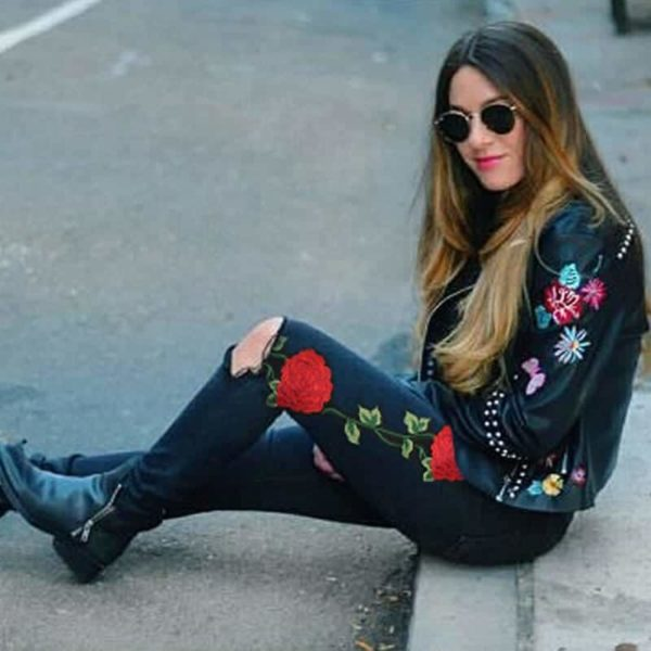 Embroidered Skinny Jeans 1