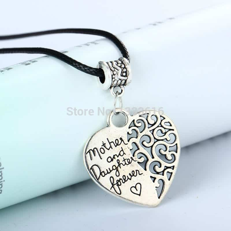 Heart vintage silver plated pendant popular mother and daughter next aloadofball Choice Image
