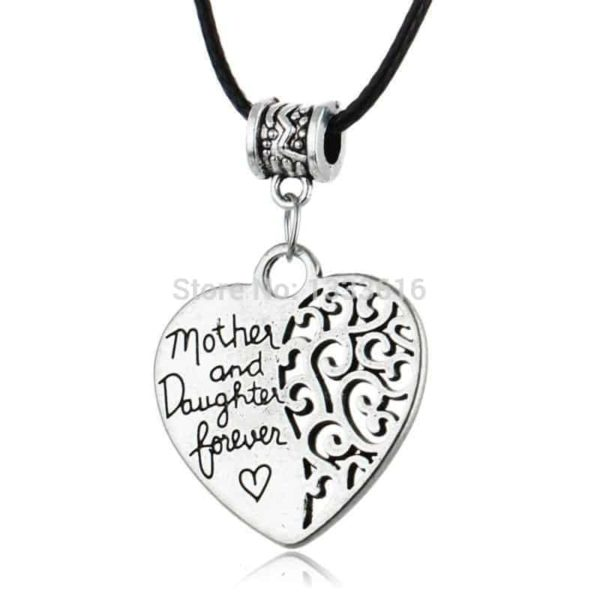 Heart Vintage Silver Plated Pendant Popular Mother And Daughter Forever Love 1