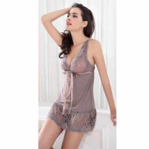 Hot-2016-New-Women-Sexy-Nightwear-5-Colors-Plus-Size-S-XXL-Lace-Nightgown-Sleepwear black