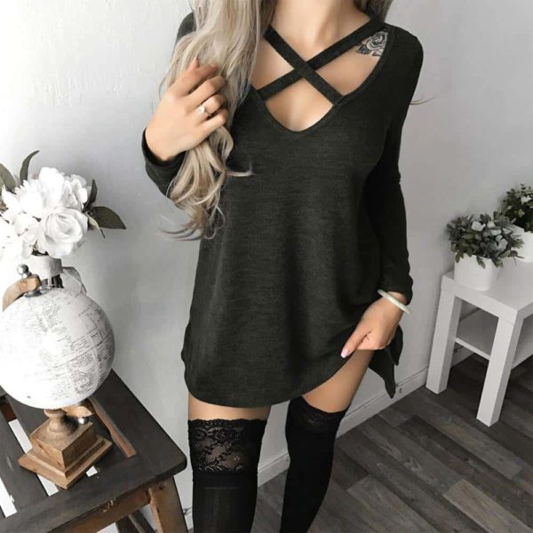 Hot Sale Women Criss-Cross Mini Dress Solid Long Sleeve 1