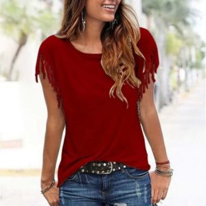 Tassel Short Sleeve Shirt Red
