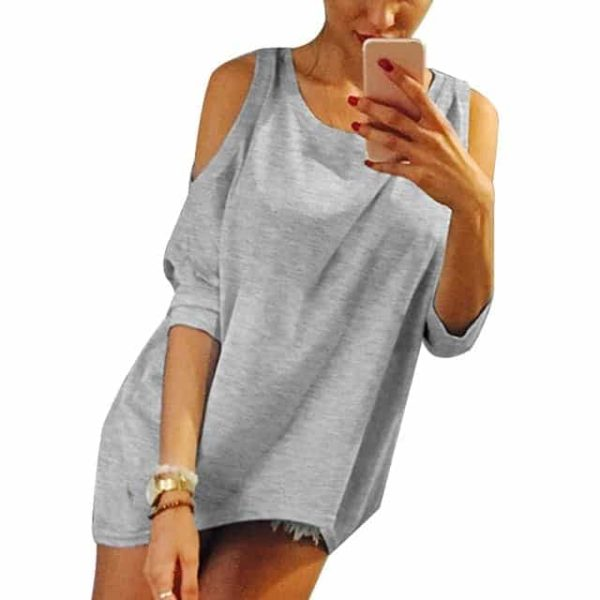 Strapless Casual T-Shirt Loose Tee Sexy Off Shoulder 7