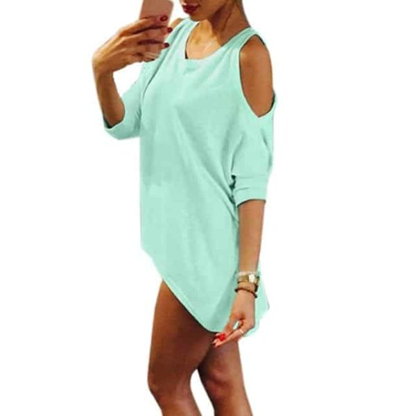 Strapless Casual T-Shirt Loose Tee Sexy Off Shoulder 8