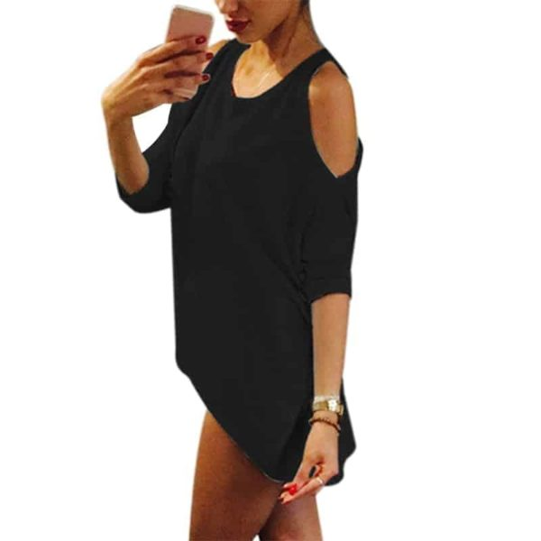 Strapless Casual T-Shirt Loose Tee Sexy Off Shoulder 4