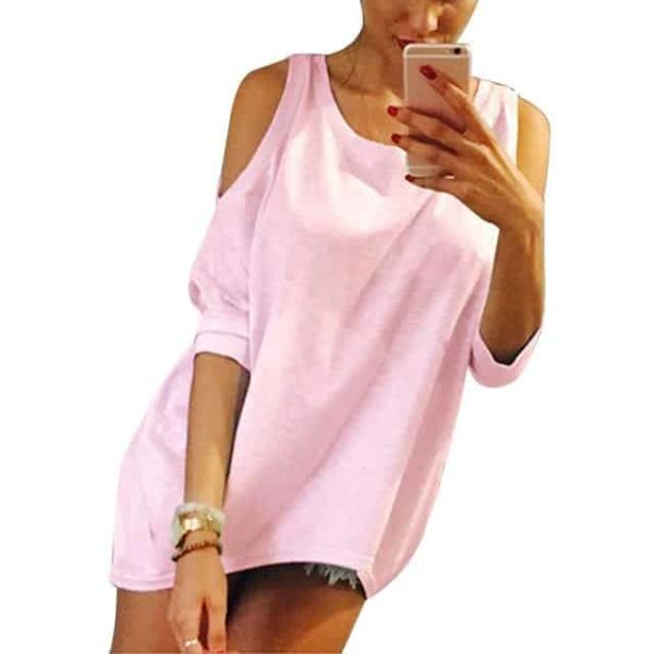 Strapless Casual T-Shirt Loose Tee Sexy Off Shoulder 9
