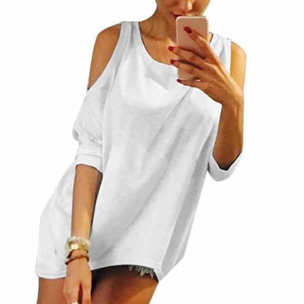 Strapless Casual T-Shirt Loose Tee Sexy Off Shoulder 10