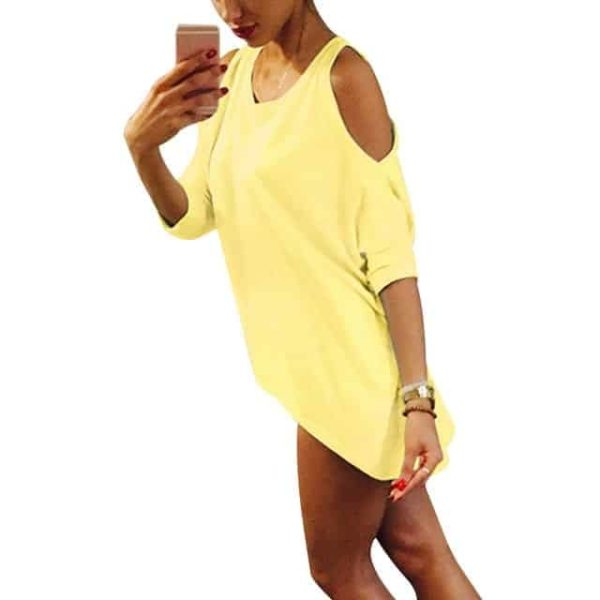 Strapless Casual T-Shirt Loose Tee Sexy Off Shoulder 11