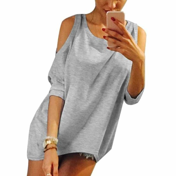 Strapless Casual T-Shirt Loose Tee Sexy Off Shoulder 1