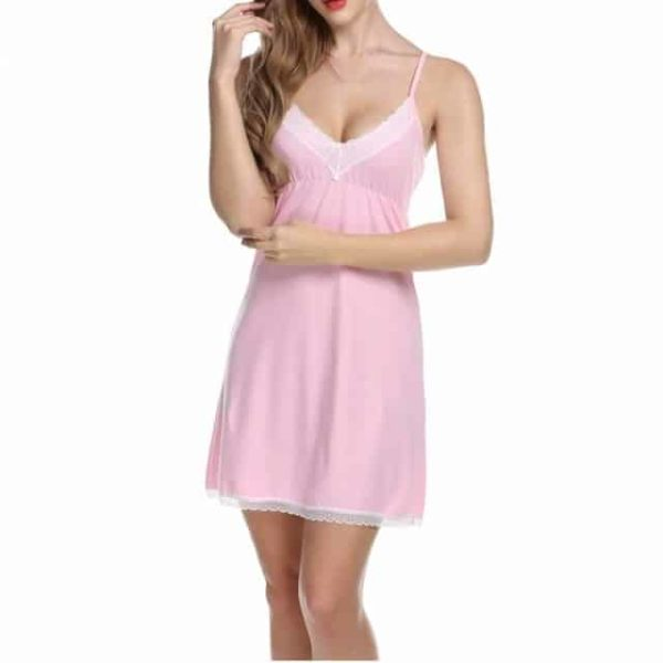 Lady Cotton Women Nightwear Dress Sleeveless Lace Pink