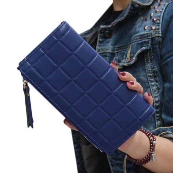 New Brand Candy Colors Purse Plaid Zipper Wallet Leather 8
