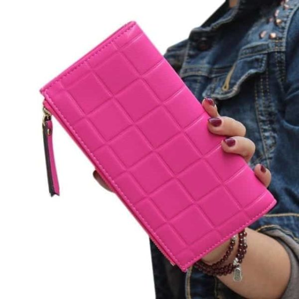 New Brand Candy Colors Purse Plaid Zipper Wallet Leather 11