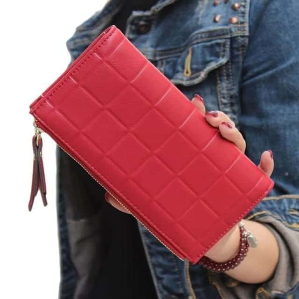 New Brand Candy Colors Purse Plaid Zipper Wallet Leather 13