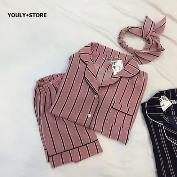 New Women Striped Short Sleeve Sleepwear 4