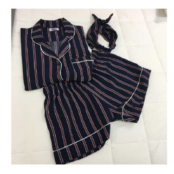 New Women Striped Short Sleeve Sleepwear 2